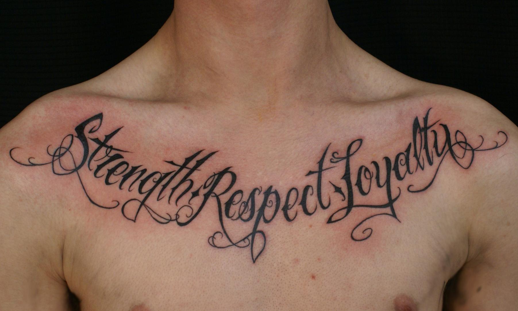Chest tattoo tariq sabur for Chest tattoo writing