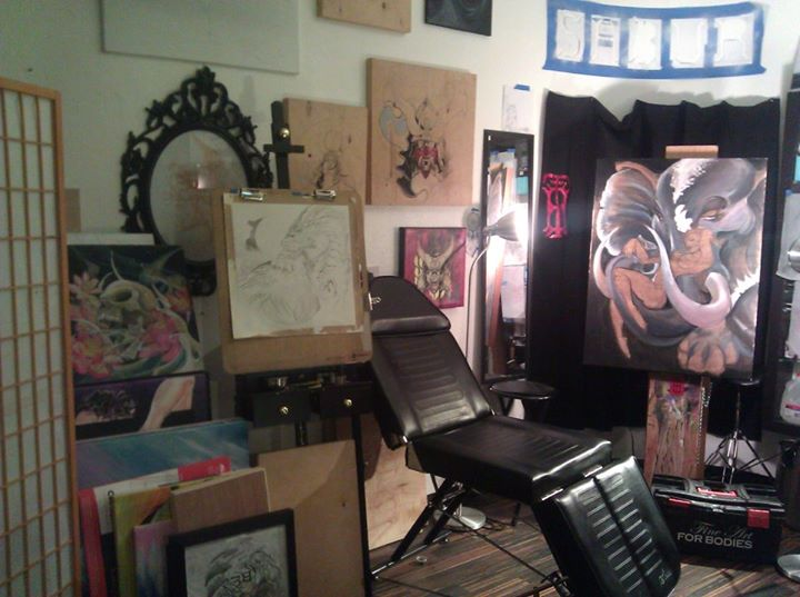 Studio Shots.... When my backgroun dincluded two dozen paintings and a pair of easles...